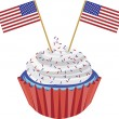 Stok Vektör: 4th of July Cupcake with Flag Illustration