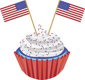 4th of July Cupcake with Flag Illustration — Stock Vector