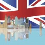 skyline di Londra con illustrazione bandiera Unione jack — Vettoriale Stock