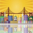 San Francisco City Skyline at Sunrise Illustration — Stock Vector