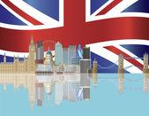 Skyline de Londres avec illustration drapeau union jack — Vecteur