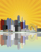 Singapore City Skyline with Sun Rays Illustration — Stock Vector