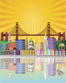San Francisco City Skyline at Sunrise Illustration — Stockvector