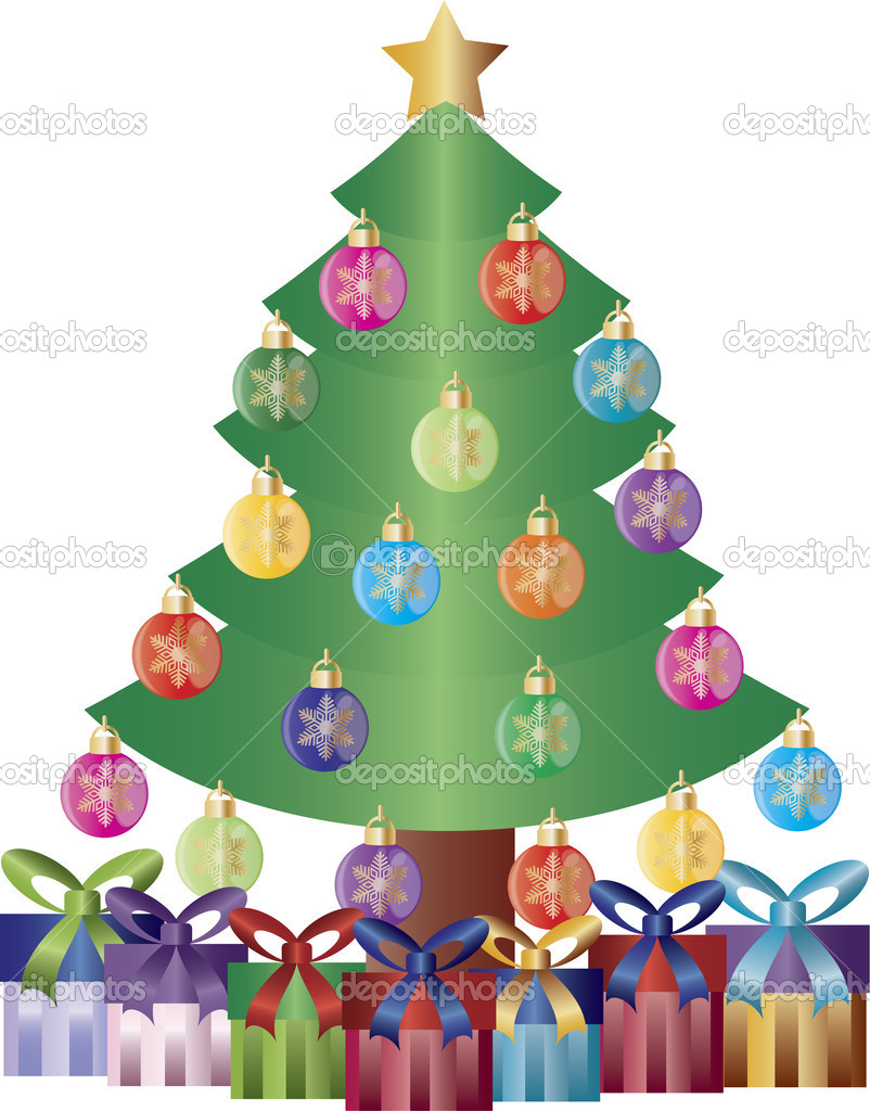 Christmas Tree Decorated with Snowflake Ornaments and Gift Wrapped Presents Illustration — Imagen vectorial #11011684