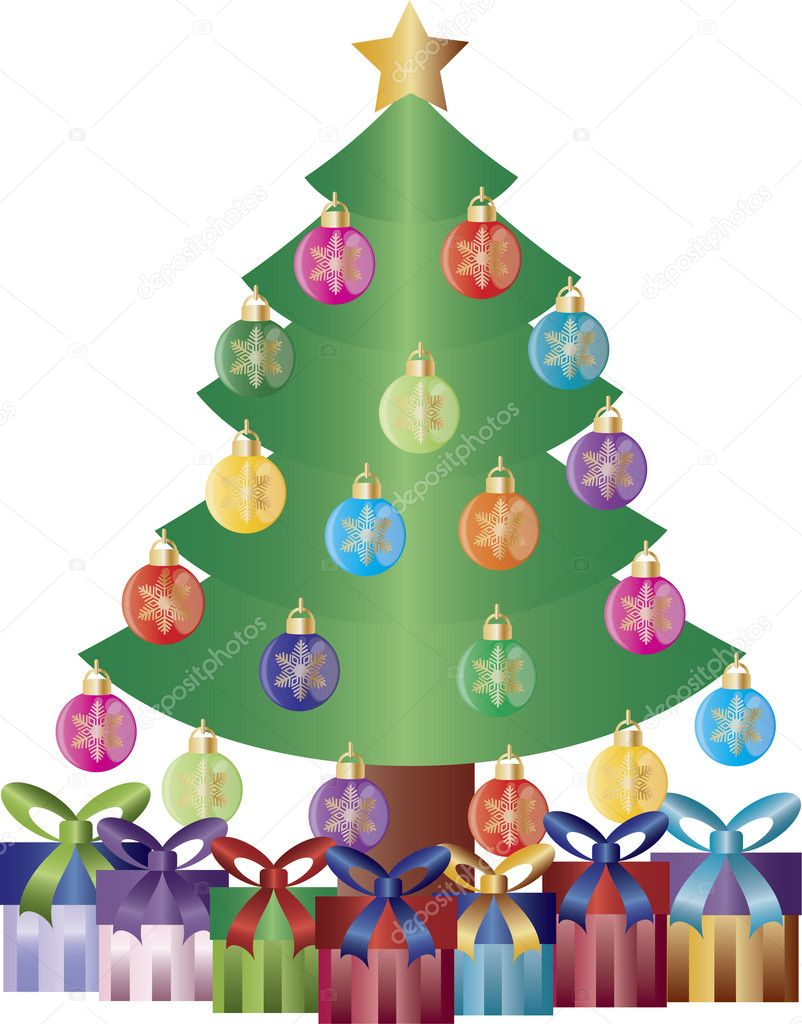 Christmas Tree Decorated with Snowflake Ornaments and Gift Wrapped Presents Illustration — Stock vektor #11011684