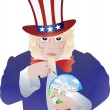 Uncle Sam Bursting the Real Estate Bubble Illustration — Stock Vector