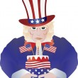 Uncle Sam with 4th of July Birthday Cake Illustration — Stock Vector