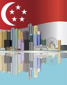 Singapore City Skyline Reflection and Flag Illustration — Stock Vector