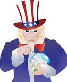 Uncle Sam Bursting the Real Estate Bubble Illustration — Stock Vector