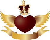 Flying Heart with Crown Jewels Illustration — Stock Vector