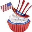 Stock Vector: 4th of July Cupcake with Flag and Hat Illustration