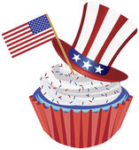 4th of July Cupcake with Flag and Hat Illustration — Stockvector