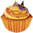 Halloween Cupcake with Spider and Candy Illustration - Stock Vector