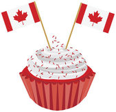 Happy Canada Day Cupcake with Flag Illustration — Stock Vector