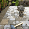 Laying Garden Pavers Patio — Stock Photo #11333166