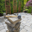 Stock Photo: Stack of Pavers on Backyard Garden Patio