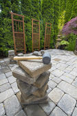 Stack of Pavers on Backyard Garden Patio — Stock Photo