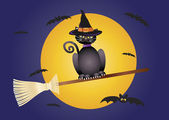 Halloween Cat Flying on Broomstick Illustration — Stock Vector