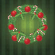 Christmas Wreath with Ornaments and Candy Cane Illustration — Stok Vektör