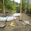 Stock Photo: Excavating and Laying Pavers for Garden Patio