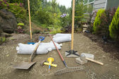 Excavating and Laying Pavers for Garden Patio — Stock Photo