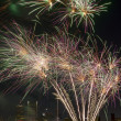 Fireworks Display Along Willamette River in Portland Oregon — Stock Photo