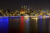 Boat Light Trails Along Willamette River in Portland Oregon — Stock Photo