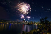 Watching Fireworks by the River in Portland Oregon — Stock Photo