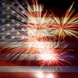 Stock Photo: USA Flag with Fireworks