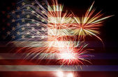 USA Flag with Fireworks — 图库照片