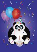 Mutlu doğum ayı panda çizimi — Stok Vektör