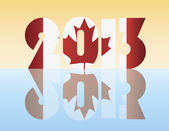 New Year 2013 Canada Flag Illustration — Stock Vector