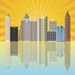 Atlanta Georgia City Skyline Illustration — Stock Vector