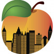 Atlanta Georgia Night Skyline Inside Peach Illustration — Stockvectorbeeld
