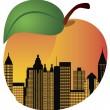 Atlanta Georgia Night Skyline Inside Peach Illustration — Stock Vector