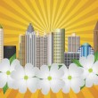 Stock Vector: Atlanta Georgia City Skyline with Dogwood Illustration