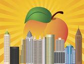 Atlanta Georgia City Skyline with Peach Illustration — Stock Vector