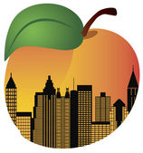 Atlanta Georgia Night Skyline Inside Peach Illustration — 图库矢量图片