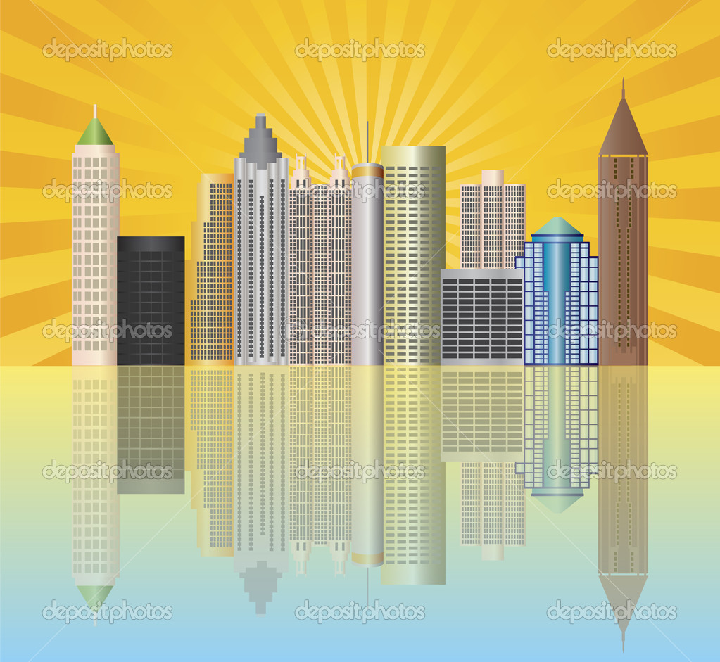 Atlanta Georgia City Skyline  with Sun Rays and Reflection Illustration — Stock Vector #11631095