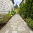 Garden Brick Paver Path Walkway with Arbor — Stock Photo