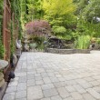 Royalty-Free Stock Photo: Backyard Asian Inspired Paver Patio Garden