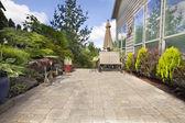 Backyard Paver Patio with Garden Accessories — Stock Photo