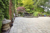 Backyard Asian Inspired Paver Patio Garden — Stock Photo