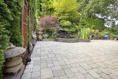 Backyard Asian Inspired Paver Patio Garden — Stock Photo