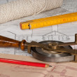 Stock Photo: Pland tape measure