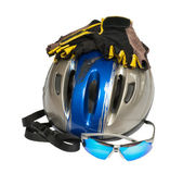 Still life with helmet and sunglasses — Stock Photo