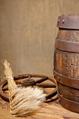 Barrel and barley — Stock Photo