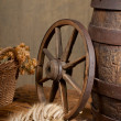 Retro still life with barrel and barley — Stok Fotoğraf #11989013
