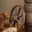 Retro still life with barrel and barley — Foto Stock #11989013