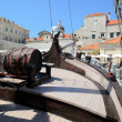 Old-fashioned ship in Dubrovnik harbor — Stock Photo
